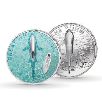 Der Große Weiße Hai - 5 Dollar Silbermünze mit Farbauflage, Palau