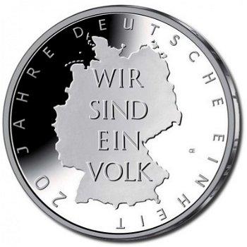 20 Jahre Deutsche Einheit, 10-Euro-Silbermünze 2010, Stempelglanz