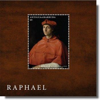 """Raffael """"Bildnis eines Kardinals"""" - Briefmarken-Block postfrisch, Antigua Barbuda"""