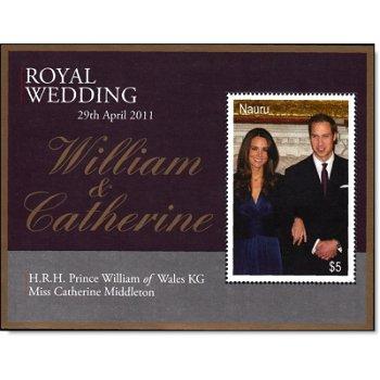 Königliche Hochzeit William und Kate - Briefmarken-Block, Nauru