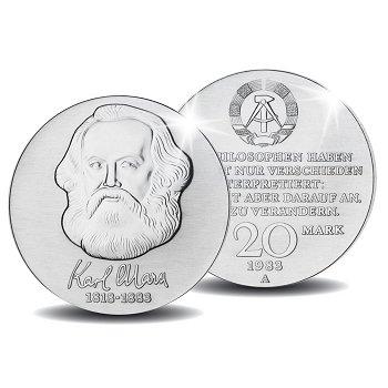 100. Todestag von Karl Marx, 20 Mark Münze 1983, DDR