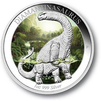 Diamantinasaurus Dinosaurier, Silbermünze Australien, Polierte Platte