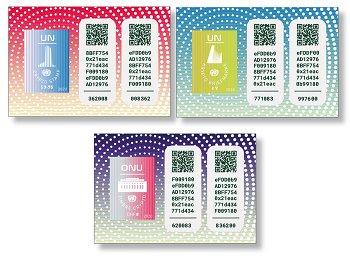 Crypto Stamp 2020 - 3 Briefmarken postfrisch, Vereinte Nationen
