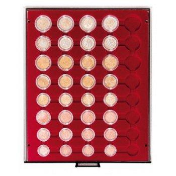 LINDNER Münzenbox, Kursmünzensätze verkapselt, LI 2956, Rauchglas