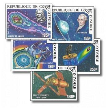 Halleyscher Komet - 5 Briefmarken ungezähnt postfrisch, Katalog-Nr. 888B-892B, Elfenbeinküste