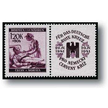 Rotes Kreuz 1941 - 2 Briefmarken postfrisch, Katalog Nr.62 - 63 Zf, Böhmen und Mähren