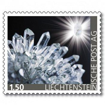 Edelsteine der Philatelie: BERGKRISTALL-Briefmarke postfrisch, Liechtenstein