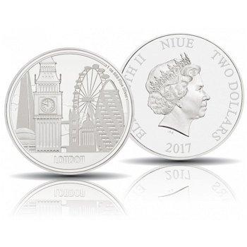 Weltstadt London, 2 Dollar Silbermünze 2017 polierte Platte, Niue