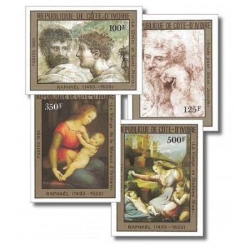 500. Geburtstag von Raffael - 4 Briefmarken ungezähnt postfrisch, Katalog-Nr. 800B-803B, Elfenbeinkü