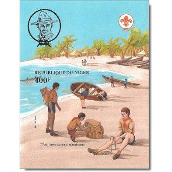 75 Jahre Pfadfinderbewegung - Briefmarken-Block ungezähnt postfrisch, Katalog-Nr. 800 Bl. 37B, Niger