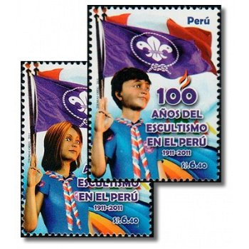 100 Jahre Pfadfinder in Peru - 2 Briefmarken postfirsch, Katalog-Nr. 2501-2502, Peru