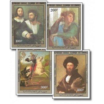 500 Geburtstag von Raffael – Briefmarken postfrisch, ungezähnt, Katalog-Nr. 707-710, Komoren