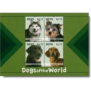 Hunde - Briefmarkenblock postfrisch, Nevis