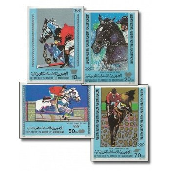 """Olympische Sommerspiele in Moskau """"Aufdruck"""" - 4 Briefmarken ungezähnt postfrisch, Katalog"""