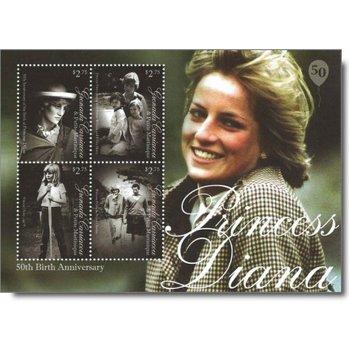 50. Geburtstag von Prinzessin Diana - Briefmarken-Block postfrisch, Grenada Carriacou & Petite M