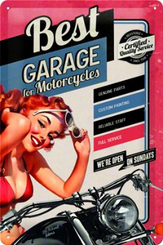 Blechschild:BEST GARAGE- Motorcycles -(Nostalgic Art, 20 x 30 cm)