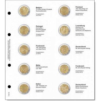 Lindner Vordruckblatt inkl. Münzblatt für 2 Euro-Gedenkmünzen chronologisch: Belgien 2012 - Deutschl