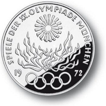 10 DM Olympia-Münze 1972, Serie 6, Prägezeichen J, Stempelglanz