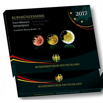 Kursmünzensatz 2017, Porta Nigra, Polierte Platte mit allen 5 Prägestätten, Deutschland