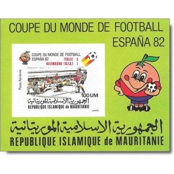 """Fußball-Weltmeisterschaft 1982, Spanien """"Aufdruck"""" - Briefmarken-Block ungezähnt postfrisc"""