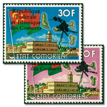 Raumsonde Voyager I und II - zwei Briefmarken mit Aufdruck, postfrisch, Katalog-Nr. 452-453, Komoren