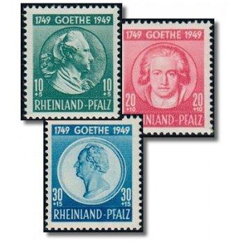 200. Geburtstag von Goethe - 3 Briefmarken postfrisch, Katalog-Nr. 46-48, Französische Zone Rheinlan