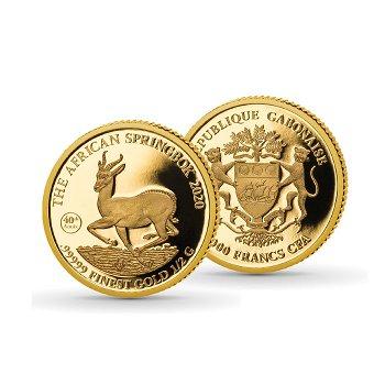 Kleinste Goldmünzen, 40 Jahre Afrikanischer Springbock, 1000 Franc Goldmünze, Gabun