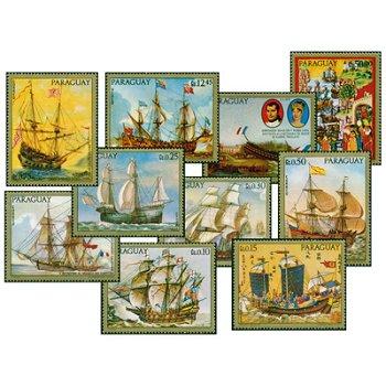 Gemälde alter Kriegsschiffe - zehn Briefmarken, Paraguay