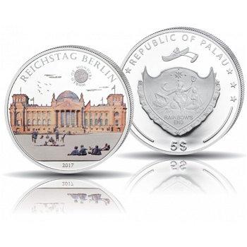 Der Reichstag in Berlin, 5 Dollar Silbermünze mit Farbauflage, polierte Platte, Palau