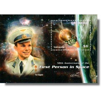 Juri Gagarin: 50 Jahre bemannte Weltraumfahrt - Briefmarken-Block postfrisch, Grenada