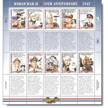 70 Jahre Zweiter Weltkrieg: Das Jahr 1942 – Kleinbogen postfrisch, Marshall-Inseln