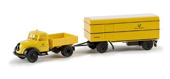 Modell-LKW:Magirus-Mercur Zugmaschinemit Paketanhänger - DBP -(Brekina, 1;87)