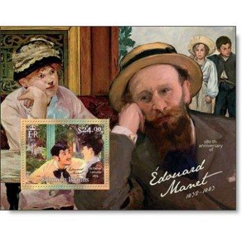 180. Geburtstag von Édouard Manet - Briefmarken-Block postfrisch, Salomon-Inseln