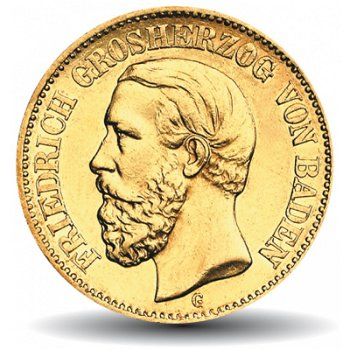 10 Mark Goldmünze Friedrich I., Katalog-Nr. 186, Großherzogtum Baden