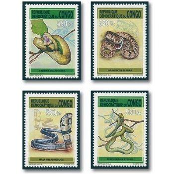 Schlangen - 4 Briefmarken postfrisch, Kongo