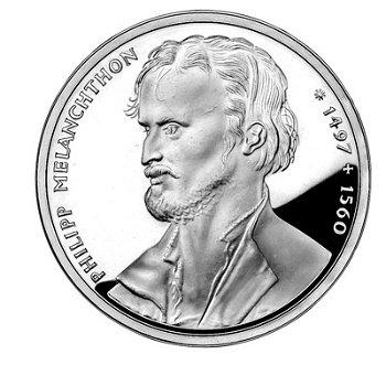 """10-DM-Silbermünze """"Philipp Melanchthon"""", Polierte Platte"""