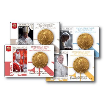 Papst Franziskus, 4 x Stamp & Coincard, Vatikan