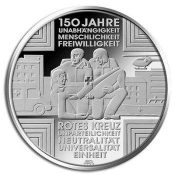 150 Jahre Rotes Kreuz, 10-Euro-Gedenkmünze, Stempelglanz