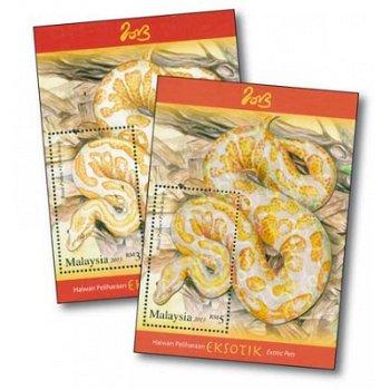 Schlangen, Königspython - 2 Briefmarkenblocks postfrisch, Malaysia