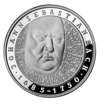 "10-DM-Silbermünze ""250. Todestag von Johann Sebastian Bach"", Polierte Platte"