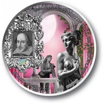 Romeo und Julia, Silbermünze mit Nano-Chip, Benin