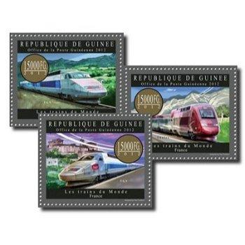 Züge der Welt: Frankreich - 3 Briefmarken postfrisch, Guinea