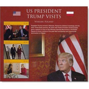 Donald Trump: Besuch in Polen - Block postfrisch, St. Vincent und Grenadinen
