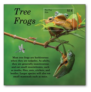 Tree frogs - block mint never hinged, Nevis
