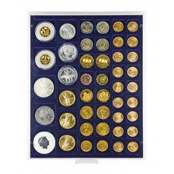 LINDNER Münzenbox, diverse quadratische Vertiefungen, LI 2145, Marine