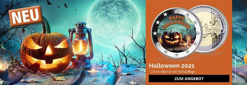 Halloween, Nacht des Grauens, Sammelstück, 2 Euro, Farbprägung, Münze
