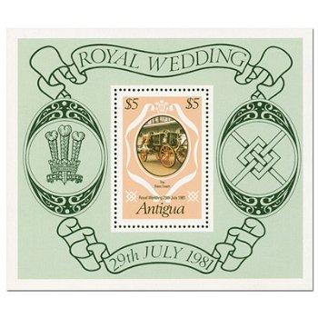 Königliche Hochzeit 1981 - Briefmarken-Block postfrisch, Antigua Barbuda