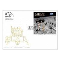 50 Jahre Mondlandung: Apollo 11 - Briefmarkenblock auf Ersttagsbrief, Ungarn
