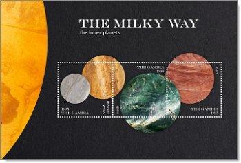 Die Milchstraße: Innere Planeten - Briefmarken-Block postfrisch, Gambia