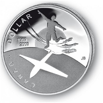 100 Jahre Motorflug in Canada - Silberdollar 2009, 1 Dollar Silbermünze, Canada